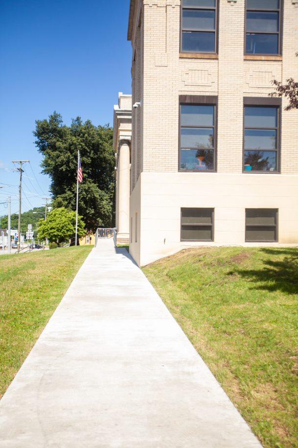 ADA accessible entrance ramp